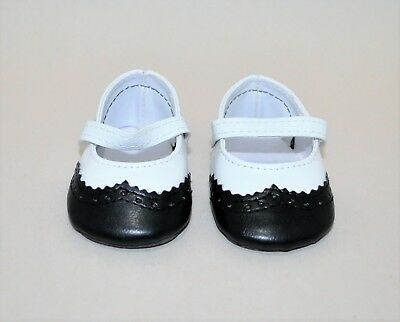 """American Girl Doll Our Generation 18"""" Dolls Shoes Black and White Mary Janes"""