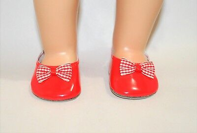 American Girl Doll Our Generation 18 Dolls Clothes Red Bow Slip-on Shoes