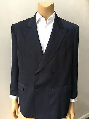Men's Double Breasted Pleated Pants 2 Piece Shadow Stripe Blue Suit Size 50R