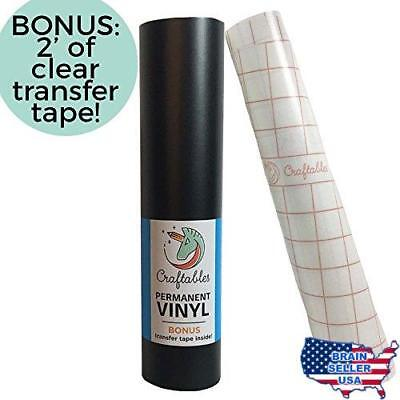 Craftables Matte Black Vinyl Roll - Permanent, Adhesive, Matte & Waterproof | 12