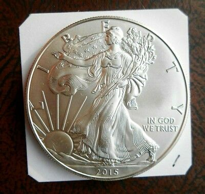 2015 $1 American Silver Eagle. Brilliant Uncirculated 99.9 One Ounce Silver Coin