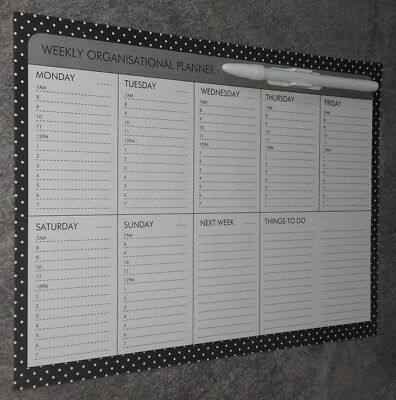 """WEEKLY """"PLANNER"""".- FULLY MAGNETIC-WRITE & WIPE SURFACE with PEN & CliP. ITEM 3O"""