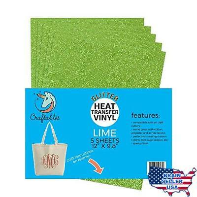 "(5) 12"" x 9.8"" Sheets Craftables Lime Glitter Heat Transfer Vinyl, HTV - Sparkli"