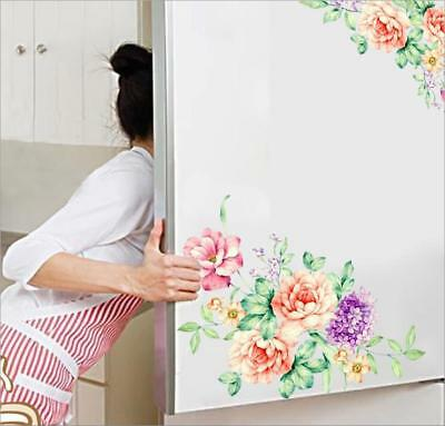 Peony Rose Flowers Wall Sticker Art Nursery Decals Home Toilet Fridge Decor WL