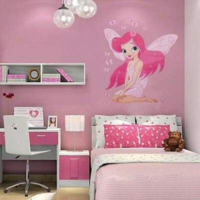 Pink Fairy Girl Wall Sticker Decal DIY Art  Bedroom Nursery Kids Decoration WL