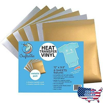 "Craftables Heat Transfer Vinyl Metallic Bundle 12"" x 9.8"" - (8) Sheet Color Pack"