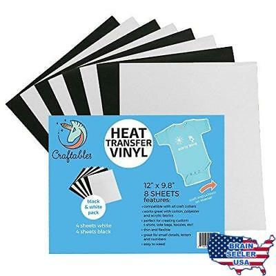 "Craftables Heat Transfer Vinyl Black and White Bundle 12"" x 9.8"" - (8) Sheet Col"