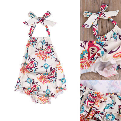 AU Stock Infant Baby Girls Floral Cotton Romper Bodysuit Jumpsuit Outfit Clothes