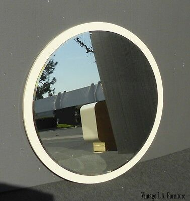 Vintage Mid Century Italian Style Creme Wall Mantle Mirror ~ Beveled Mirror