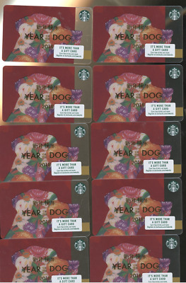 20 Starbucks HAPPY  VALENTINES DAY 2018 CHINESE YEAR OF THE DOG  NEW CARD 10 eac