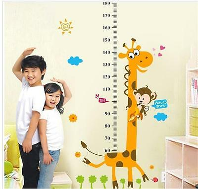 Giraffe Height Chart Removable Wall Sticker Room Decal Kids Measuring Ruler WL