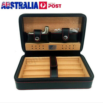 Portable 4 Cigar Humidor Cedar Wooden Leather Case Box Storage Humidifier Office