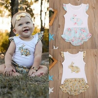 2pcs Easter Newborn Baby Girl Bunny Tops Romper Floral Pants Outfits Set Clothes