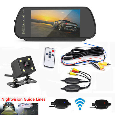 "Wireless 7""HD LCD Car Rear View Parking Mirror Monitor+Backup Reverse Camera Kit"