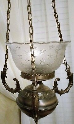 Vintage Brass Ceiling Light With Globe