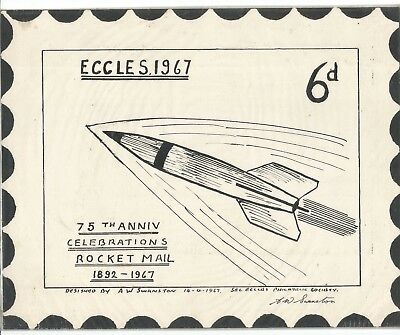 Rocket Mail,eccles Rocket Mail,a Drawing Sent In As Suggested Design For R.stamp
