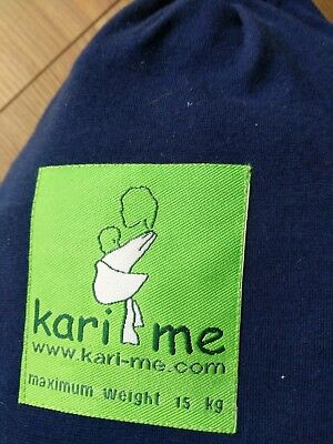Kari-Me Baby Sling stretchy Wrap Blue made in the UK with instructions and bag