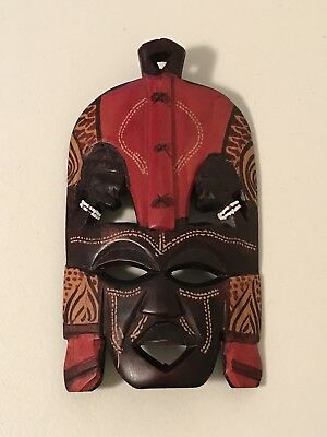 Very Beautiful African Tribal Wooden Mask Hand Carved Wall Hanging Made In Kenya