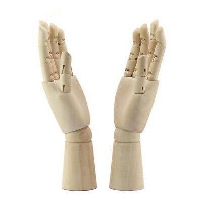 1 Pair Articulated Wood Mannequin Manikin Hand Painting Aid Educational Toy