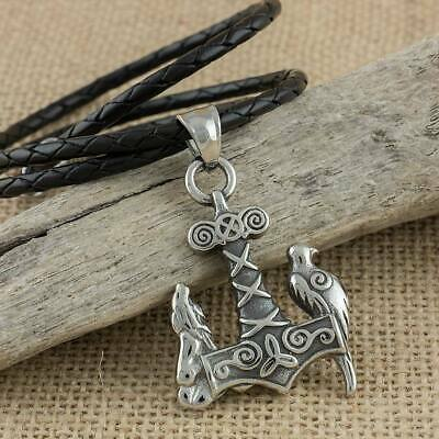 Viking Necklace Raven and Wolf Thors Hammer Stainless Steel Pendant