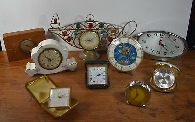 Mixed Collection Of Vintage Wind Up  Clocks For Parts