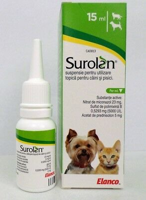 4x Surolan Ear drops for dogs and cats 15mL otitis, ear mite 11/2019