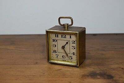 Small Vintage / Antique Brass Travel Clock Made In Germany