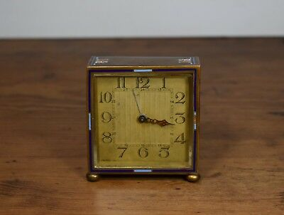Small Vintage / Antique Brass & Enamel Alarm Clock For Restoration Or Parts