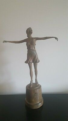 Wonderful Art Deco1920's Style French Solid Bronze Dancer Figure Signed P Chenet