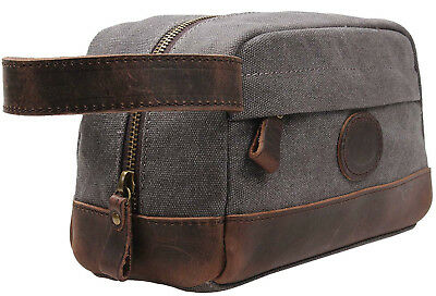 Dopp Kit For Men Leather Hygeine Bag Shaving Toiletry Case Pouch Canvas Travel