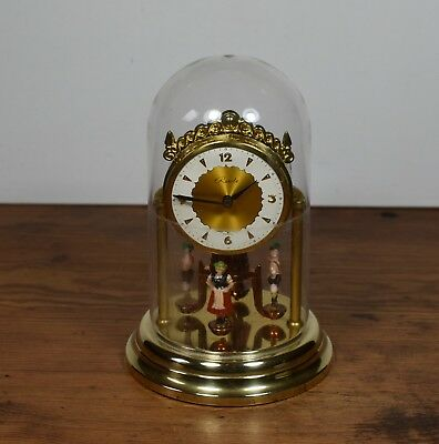 Vintage Brass Ranela Anniversary Clock With Moving Figures