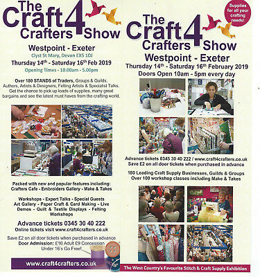 2 x tickets to The Craft 4 Crafters Show, Westpoint Exeter, 14th-16th February