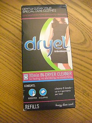 Dryel 30 MINUTE IN-DRYER CLEANER Refill Kit Booster Spray & 6 Cloths
