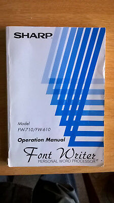 Operation manual for Sharp Fontwriter