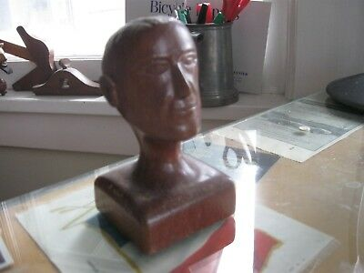 Vintage Folk Art carved wood bust. Prison sculpture