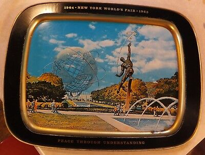 "1964-1965 New York World's Fair Large Metal Unisphere Serving Tray 15.5"" X 21.5"""
