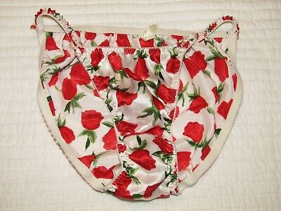 Vtg Classified Silky Shiny String Bikini Rose Panties 6 Medium Valentines Day