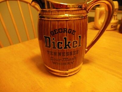 vtg GEORGE DICKEL Tennessee SOUR MASH WHISKY BARREL JUG PITCHER  6""