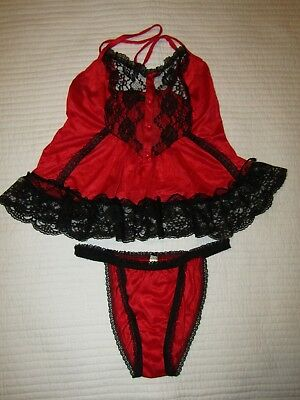 Vtg Stroke Of Midnight Red & Black Lace 2 Piece Lingerie Set Medium Valentines