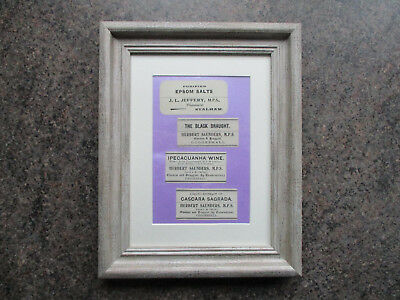 framed antique essex area chemist pharmacy apothecary labels gift xmas present