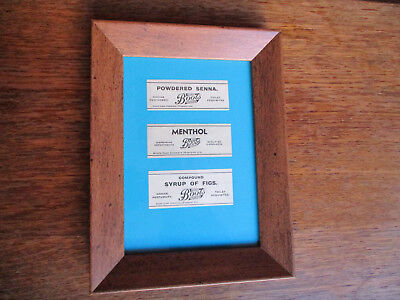 framed antique boots the chemist pharmacy apothecary labels picture gift