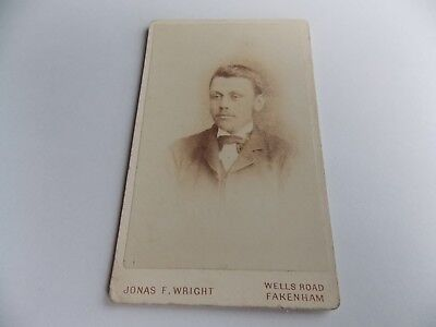 Antique Victorian Handsome Gentleman Cdv Photo Jonasfwright Fakenham
