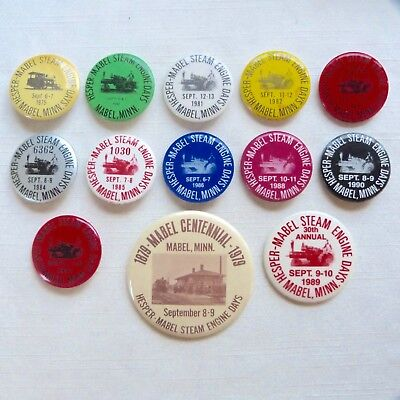 Lot of 13 Mabel Minnesota Steam Engine Days pinback buttons - MN