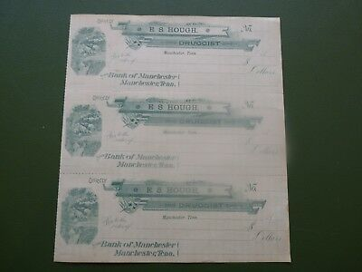 Manchester Tn. E.s.hough Druggist 1880S Blank Checks On Bank Of Manchester
