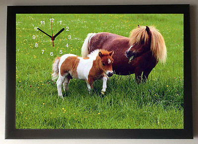 Pony and Foal. A4 Picture Clock