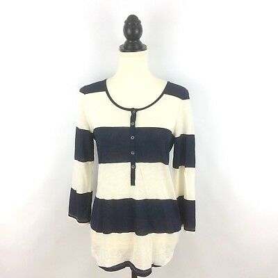 J CREW women's S top - navy blue ivory white Vintage Rugby Stripe Henley small