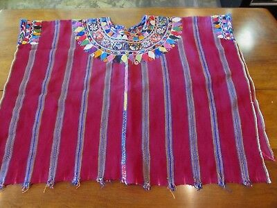 Guatemalan Huipil Hand Woven Embroidered Vintage Blouse Shirt Poncho B