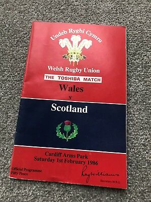 1986 Wales V Scotland-Five Nations Champions-International Rugby Union Programme