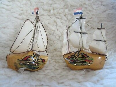 Antique Old -Dutch Wooden Shoe Ship Model Sails Vintage