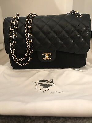 79641ee9e81 Mint CHANEL Quilted Maxi Classic Handbag Grained Calfskin Gold Metal Black